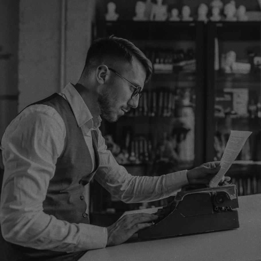 Man and typewriter.